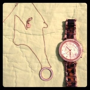 Michael Kors rose gold watch and necklace